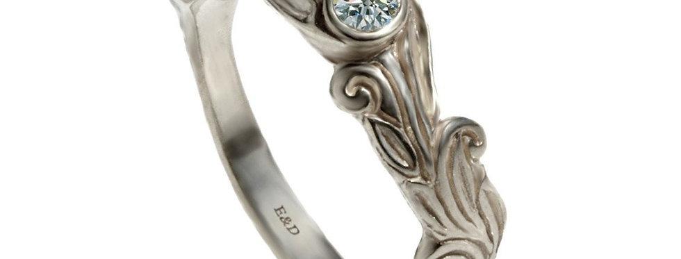טבעת יהלום זהב לבן חריטות ציוריות