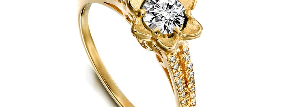 טבעת אירוסין יהלום עלי כותרת