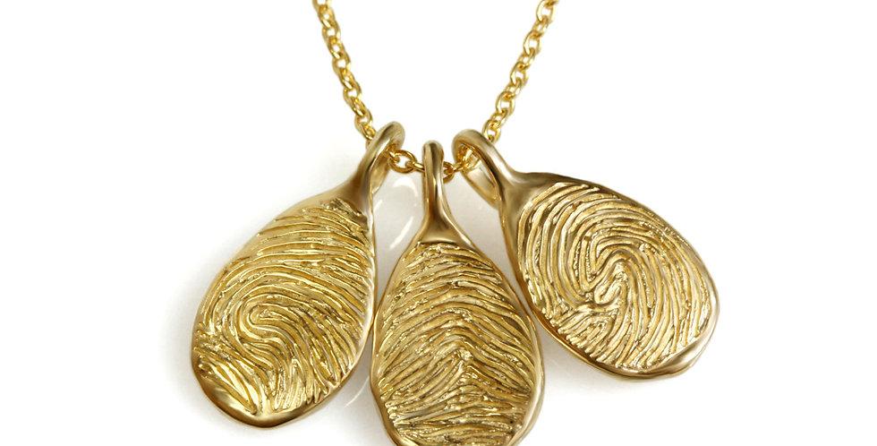 תליון זהב טיפה אליפטית טביעת אצבע