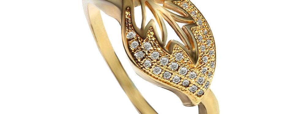 טבעת עלה 31 יהלומים