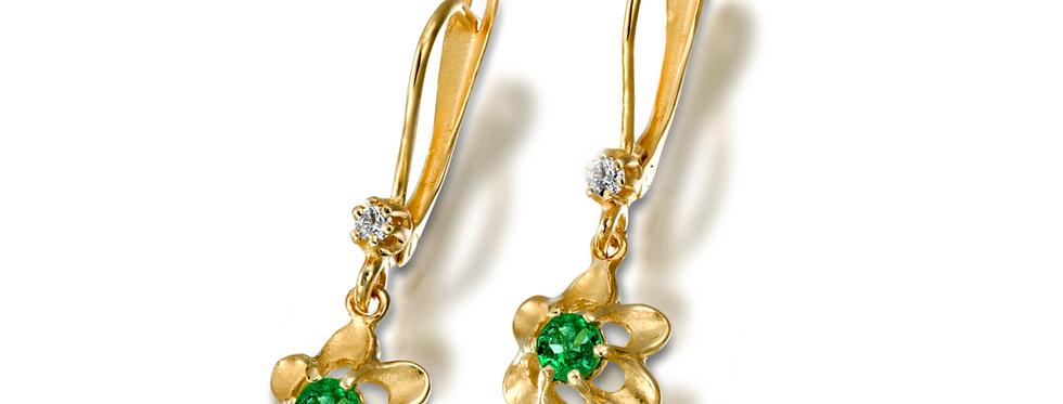 עגילי פרח אמרלד ויהלום זהב צהוב 14 קראט