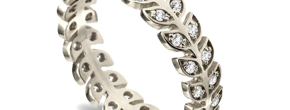טבעת זהב ויהלומים עלים חבוקים