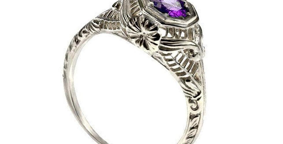 טבעת אמטיסט פרח הפיליגרן