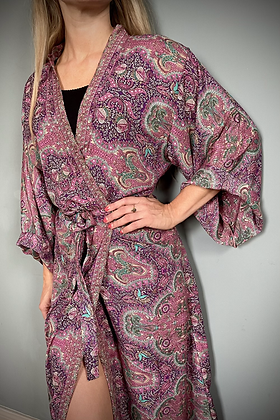 Indian Silk Kimono Gown, Indian Print, Ruby