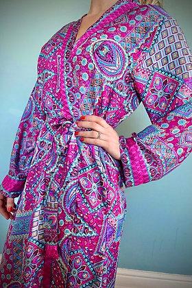 Indian Silk Kimono Gown, Indian Print, Magenta