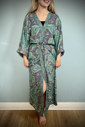 Indian Silk Kimono Gown, Indian Print, Emerald