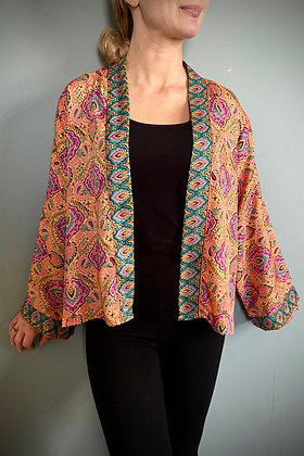 Indian  Silk Kimono Top, Indian Print, Tropical Coral