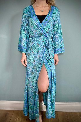 Indian Silk Kimono Gown, Indian Print, Blue Lilac