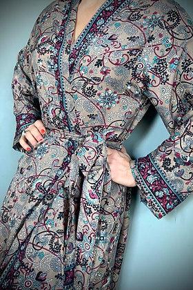 Indian Silk Kimono Gown, Indian Print, Antique Gold