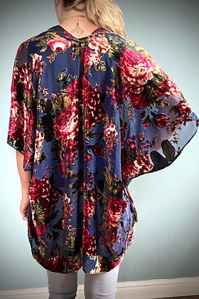Velvet Kimono Top,  Vintage Rose