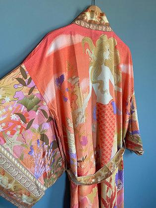 Orange Kimono Robe, Dressing Gown, Vintage Style, Mermaid Print Design