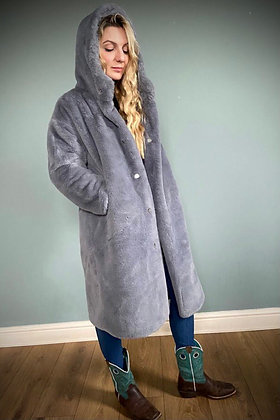 Faux Fur Winter Coat, Dove Grey