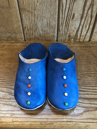 Blue Leather Button Leather Moroccan Slippers