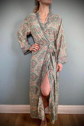Indian Silk Kimono Gown, Indian Print, soft Green