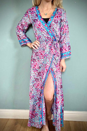 Indian Silk Kimono Gown, Indian Print, Ocean Blue & Pink