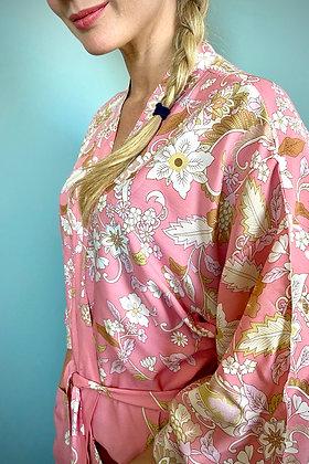 Pink Kimono Robe, Dressing Gown, Vintage Style, Floral Print Design