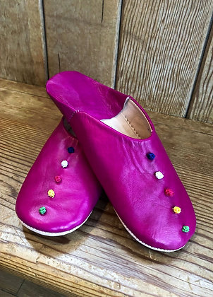 Pink Leather Button Leather Moroccan Slippers