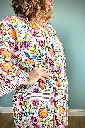Cotton Kimomo Gown, Indian Block print, Tropical flowers