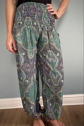Indian Silk Harem Trousers, Peacock Blue