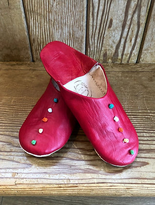 Red Leather Button Leather Moroccan Slippers