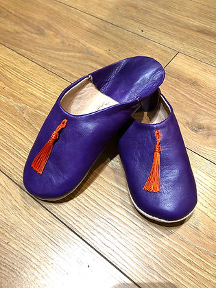 Purple Leather Tassle Leather Moroccan Slippers