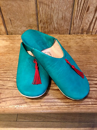 Green Leather Tassle Leather Moroccan Slippers