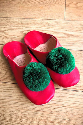 Red Leather Pom Pom Leather Moroccan Slippers