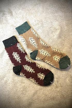 Winter Wool Socks Set of 2 burgundy & Beige