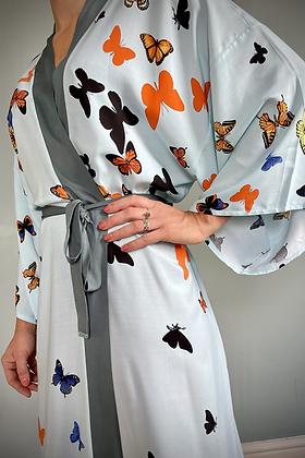 Kimono Gown, Japanese Print, Butterflies