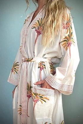 Cotton Kimomo Gown, Indian Block print, Palm Trees