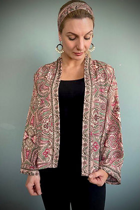 Indian Silk Kimono Jacket, Indian Print, Soft Peach