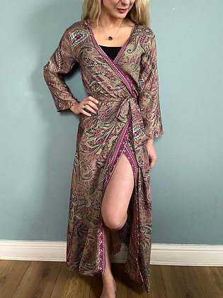 Indian Silk Kimono Gown, Indian Print, Olive & Rose
