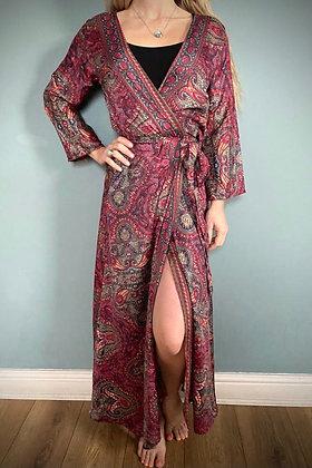 Indian Silk Kimono Gown, Indian Print, Burgundy Rose