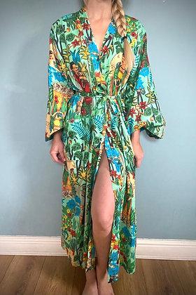 Frida Kahlo Cotton Kimomo Gown,  Aqua