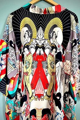 Kimono Robe, Dressing Gown, Vintage Style,  Japanese Art Print Design