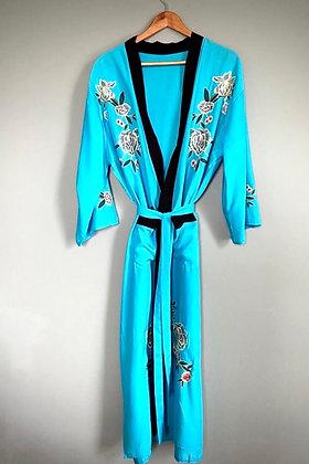 Kimono Robe, Dressing Gown, Vintage Style, Cyan blue Japanese Design