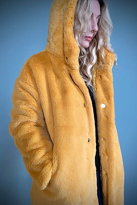 Faux Fur Winter Coat, Canary Yellow