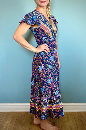Long Boho floral wrap dress, vintage style