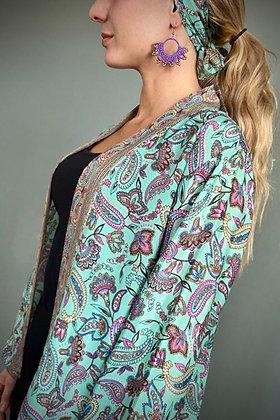 Indian  Silk Kimono Top, Indian Print, Aqua Flowers