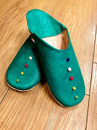 Green Leather Button Leather Moroccan Slippers