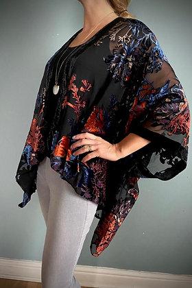 Vintage Velvet Kimono Top, Japanese Flowers
