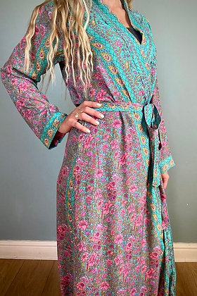 Indian Silk Kimono Gown, Indian Print, Aqua