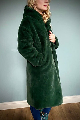 Faux Fur Winter Coat,  Forest Green