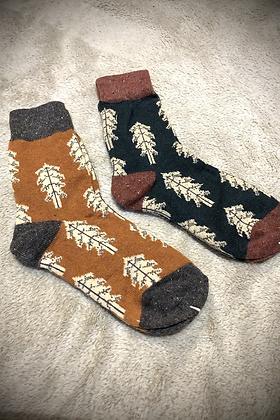 Winter Wool Socks Set of 2 Orange & Green