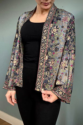 Indian  Silk Kimono Top, Indian Print, Black & Gold