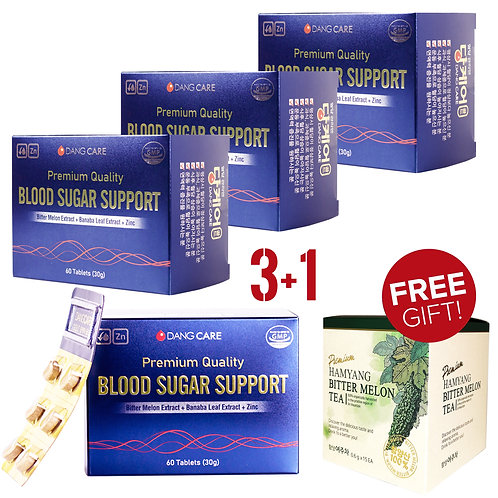 [3+1] 4 Boxes DangCare Blood Glucose Support + 15 Pouch (1 Box) Bitter Mel