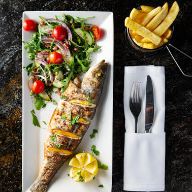 CHAR-GRILLED SEA BASS