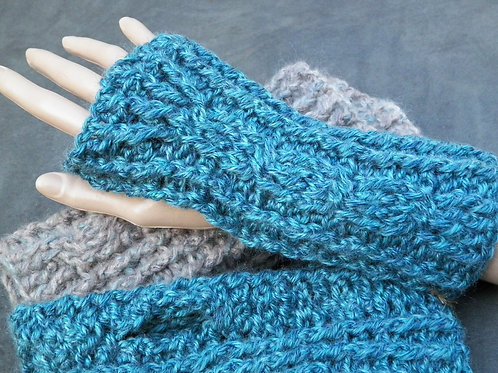 Blue Cabled Fingerless Gloves