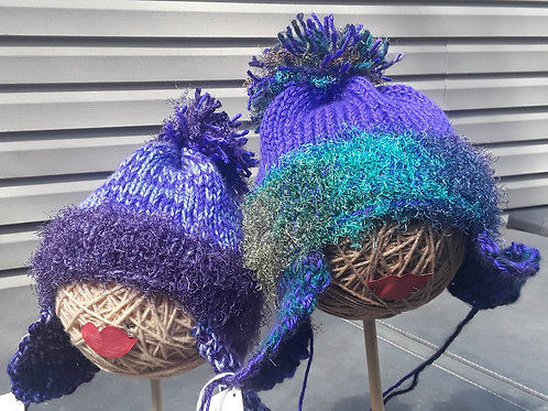 Hand Knit Hat Purple and Green