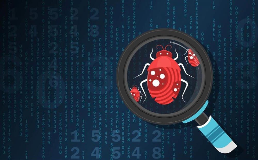 Black background, red bug under magnifying glass